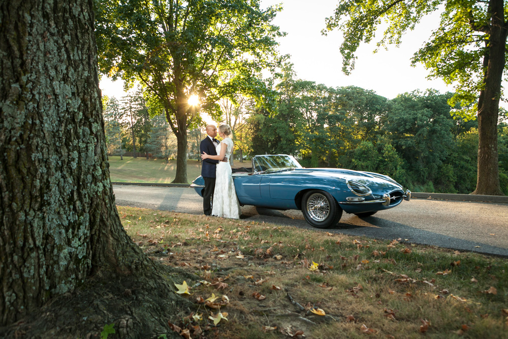 Glenview Mansion Wedding Bride and Groom with Car
